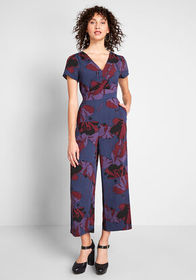 ModCloth Aiming Higher Cropped Jumpsuit Navy Flora