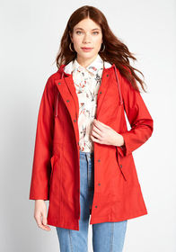 ModCloth At All Showers Raincoat Red