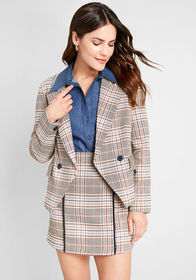 ModCloth Your Full Attention Blazer Brown Plaid