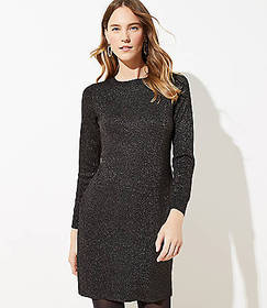 Petite Shimmer Mock Neck Sweater Dress