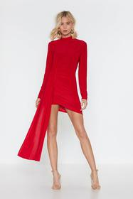 Nasty Gal Red Drop the News Ruched Mini Dress