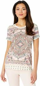 Lucky Brand Short Sleeve Crew Neck All Over Floral