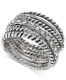 INC Textured Pavé Statement Ring, Created for Macy