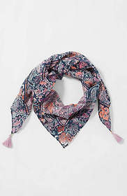 Floral Paisley Tasseled Square Scarf