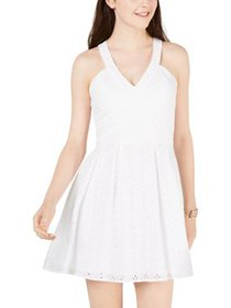 Crystal Doll Womens Juniors Eyelet Fit & Flare Cas