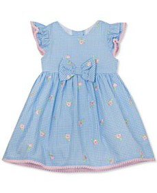 Baby Girls Embroidered Seersucker Dress with PomPo