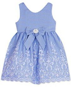 Baby Girls Scalloped-Hem Gingham-Print Dress