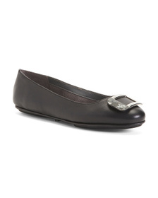 AEROSOLES Comfort Leather Tortoise Buckle Flats