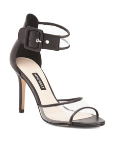 NINE WEST Double Strap Leather Vinyl Dress Heel