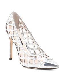 NINE WEST Metallic Lattice Detail Leather Pumps