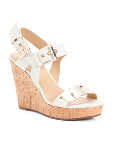 NINE WEST Leather Cork Buckle Wedge Sandals