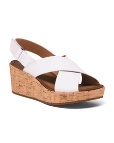 CLARKS Leather Slingback Comfort Cork Wedges