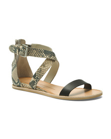 DOLCE VITA Snake Embossed Leather Wedge Sandals