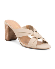 AEROSOLES Leather Comfort Stacked Heel Sandals