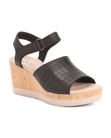 CLARKS Perforated Leather Comfort Wedges