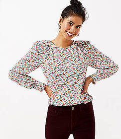 Petite Floral Puff Sleeve Blouse