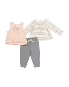 ASPEN Infant Girls 3pc Vest And Jogger Set