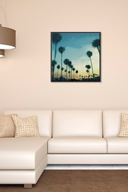 PTM Images Sunset Palms-Small Floater Framed Canva