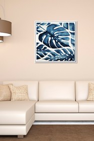 PTM Images Blue Monstera-Medium Floater Framed Can