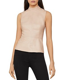 BCBGMAXAZRIA - Faux-Leather Sleeveless Top