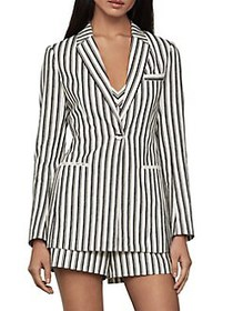 BCBGMAXAZRIA Striped Cotton & Linen-Blend Blazer B