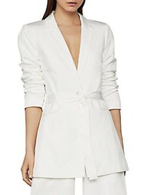 BCBGMAXAZRIA Tie-Front Notch Collar Blazer OPTIC W