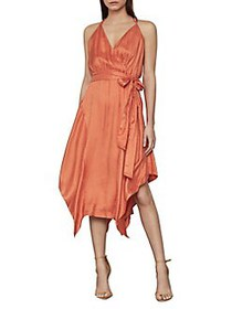 BCBGMAXAZRIA Dot-Print Faux Wrap Satin Dress PAPAY