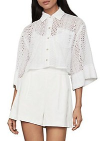 BCBGMAXAZRIA Boxy Cotton-Blend Cropped Collared Sh