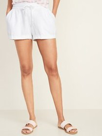 Mid-Rise Linen-Blend Shorts for Women - 4-inch ins