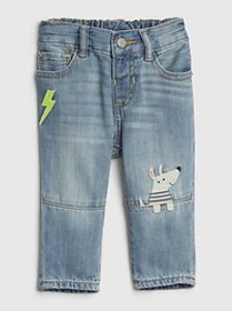 Baby Dog Applique Straight Jeans