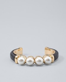 Leather Cuff with Glass Pearls