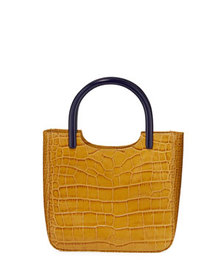 BY FAR Eric Crocodile-Embossed Leather Tote Bag