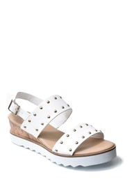 Nicole Miller Cameo Studded White Sole Wedge Sanda