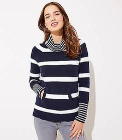Petite Striped Pocket Cowl Neck Sweater