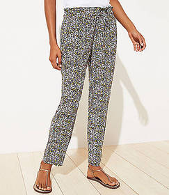 Petite Floral Tapered Pants