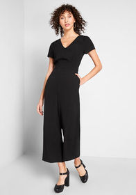 ModCloth Aiming Higher Cropped Jumpsuit Black