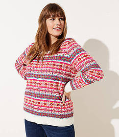 LOFT Plus Striped Fairisle Sweater