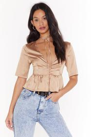 Nasty Gal Champagne Satin Tie Blouse with Plunge N