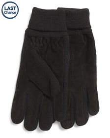 GLOVES INTERNATIONAL Fleece Lined Suede And Knit G