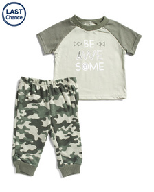 CHICK PEA Newborn Boys 2pc Be Awesome Jogger & Tee
