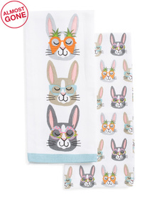 SNUGGLE BUNNY 2pk Bunny Faces Kitchen Towels