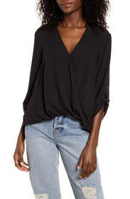 All in Favor Print Wrap Front Gathered Hem Top