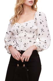 ASTR the Label Shirred Long Sleeve Top