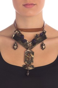 Valentino Twisted Metal & Leather Beaded Mask Neck