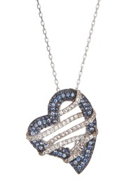 Suzy Levian Sterling Silver Sapphire Heart Pendant