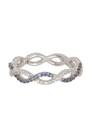 Suzy Levian Sterling Silver Sapphire Cutout Band