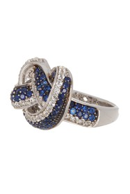 Suzy Levian Sterling Silver Sapphire Twist Ring