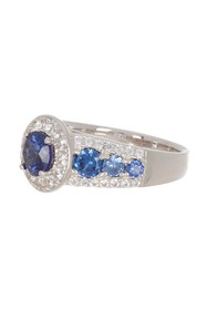 Suzy Levian Sterling Silver Large Sapphire Halo Ri