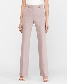 Express high waisted textured cuffed trouser pant