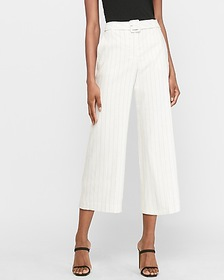 Express super high waisted pinstripe belted croppe